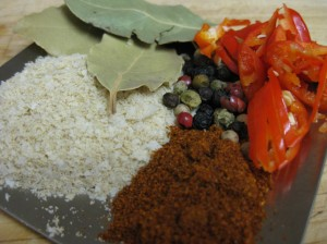 Flavours - a few bay leaves (remove before serving, the chopped chilli, teaspoon of peppercorns (i use the variagated colour type), teaspoon of paprika and 1 tablespoon of vegie stock powder.