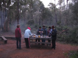 Cooking dinner in our Swamp Oak Campsite Kitchen